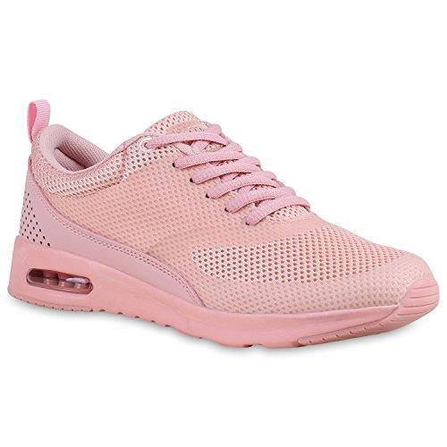Stiefelparadies Damen Sport Runners Sneakers Lauf Fitness Trendfarben Sportliche Schnürer Schuhe 138471 Rosa Rosa 38 Flandell