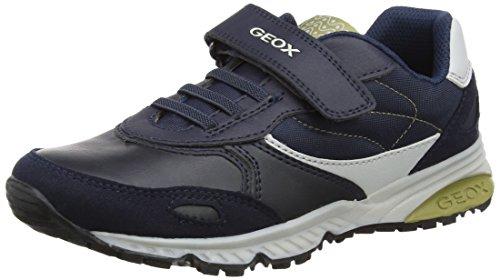 Geox Jungen J Bernie A Sneaker, Blau (Navy/Pistachio), 38 EU