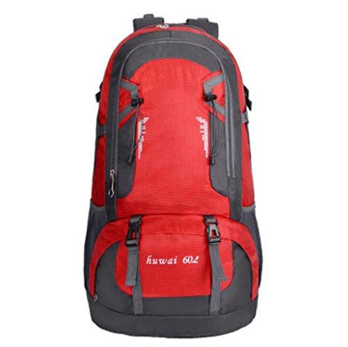 Zaini da uomo e da donna borsa da esterno da 60 litri di grande capacità borsa da alpinismo da viaggio impermeabile borsa da viaggio outdoor (colore : red)
