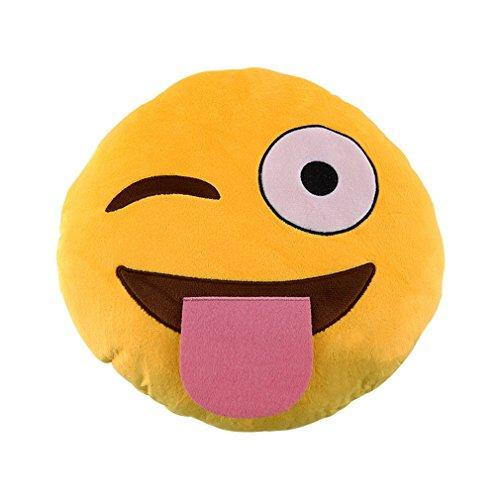 -Kissen Nettes Emoticon-Kissen Bequem Plüsch-Spielzeug-Puppe gelb ()
