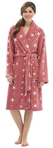 Mesdames pour Star Imprimé en polaire chaud Peignoir de bain Peignoir Tailles S/M–ln304 Multicolore - Red/Cream