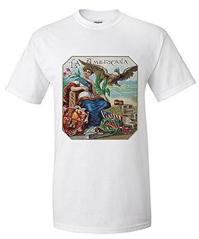 La Americana Brand Cigar Box Label (Premium T-Shirt)