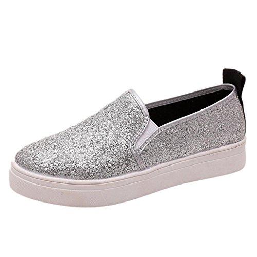 Casual Flache Ferse (Wawer Frauen Casual Slip-On Pailletten Runde Zehe Flache Schuhe Loafer Schuhe Schuhe Ferse Hohe 3 cm Für Frühling / Herbst / Sommer (Silber, 39))