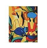 YKCKSD DIY Malen Nach Zahlen Bunte Frauen Und Katze Gestaltete Acrylmalerei Durch Zahl-Ausrüstungs-Digital-Leinwand-Malereien Für Wohnzimmer Rahmenlos 40X50CM