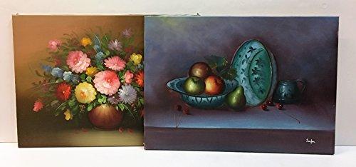 Coppia di dipinti a olio su telaio in legno,soggetto vaso di fiori e natura morta,cm50x70