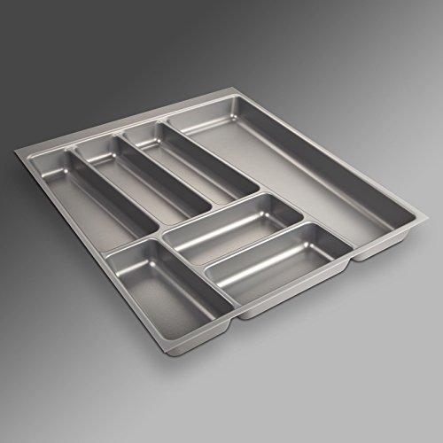 Preisvergleich Produktbild ORGA-Box II Besteckeinsatz für Nobilia 50er Schublade (462 x 405 mm Bitte MESSEN Sie Ihr SCHUBLADENINNENMAß!) Silbergrau