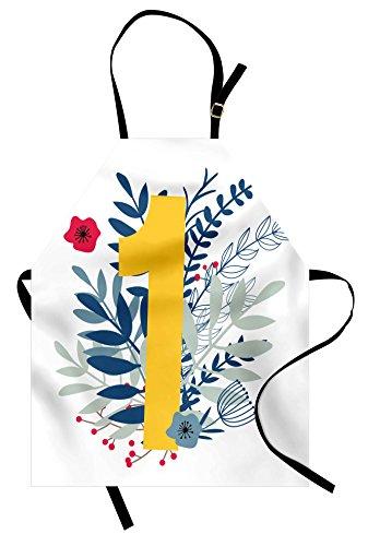 Lunarable Delantal de números muelles y número 1 en estilo tipográfico, símbolo...