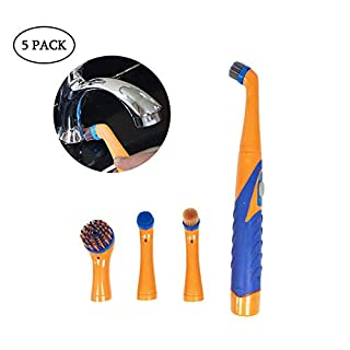 Leegoal Ultrasonic Electric Cleaning Brush, Super Sonic Scrubber Cleaner with Household All Purpose 5 Brush Heads Dirt Oil Dust Cleaner As Seen on TV
