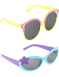 Stol'n Kids Flower And Round Sunglasses Combo Pack Of 2 Pieces For Girls/Yellow And Pink/Blue And Purple/Gift...