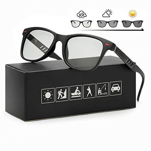 FIMILU Polarizadas Gafas de Sol Fotocromaticas Hombre Clásicas Gafas 100% Protección UVA UVB (Marco Negro Mate/Lente Fotocromaticas Gris)