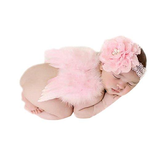 Chinget Neugeborenes Baby Nette Rosa Blumen Haarband Stirnband Engels Flügel Kostüm für Fotografie Geburtstag Halloween (Baby Kostüm Blume)