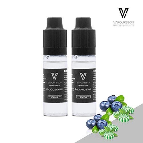 VAPOURSSON 2 X 10ml E Liquid | Blaubeere + Menthol | Neue Formel um aus wertvollen Zutaten einen besonders starken Geschmack zu erzeugen | Hergestellt für Elektronische Zigaretten und E Shishas |