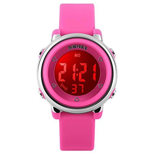 Digitale Mädchen-Armbanduhr, wasserdicht, für Sport / Outdoor-Aktivitäten, farbenfrohes Design, mit Alarm und Stoppuhr, Pink