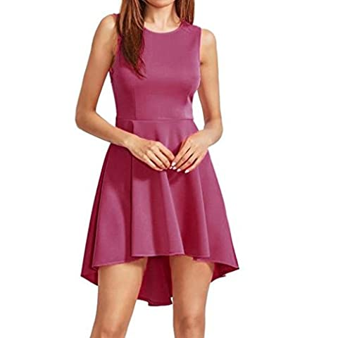 Goodsatar Women Summer Sleeveless Short Mini Dress Ladies Beach Party Dresses (M, Pink)