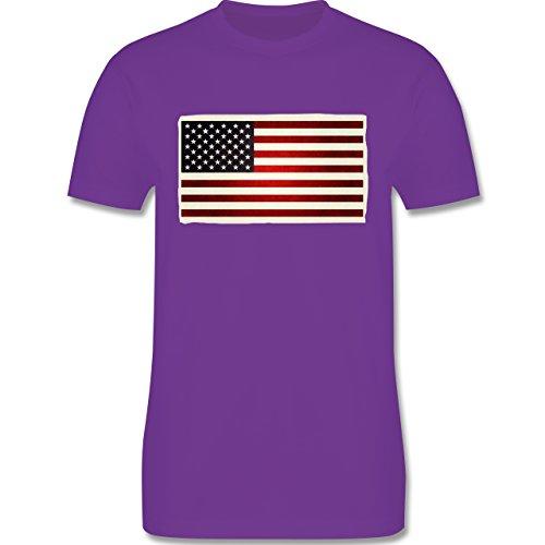 Kontinente - Flagge USA - Herren Premium T-Shirt Lila