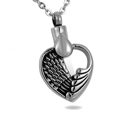 HooAMI Angel Wing corazón cenizas de recuerdo de cremación urna collar colgante Holder