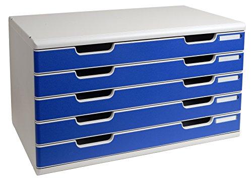Exacompta 322003D Ablagesystem Modulo A3, 5 laden Classic, lichtgrau/blau