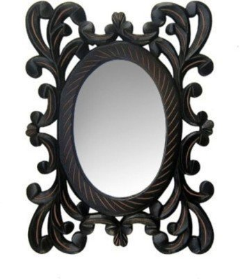 Onlineshoppee Wooden MDF Decorative Hand Carved Wall Mirror Smaller - 12 inch X9 inch