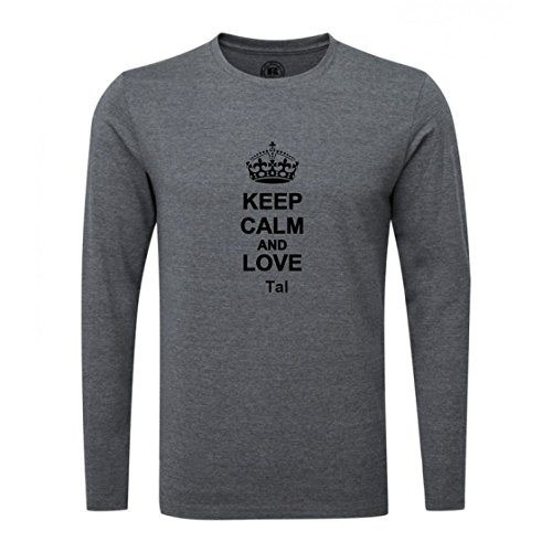 Keep Calm and Love Tal Luxury Slim Fit Long Sleeve Dark Grey T-Shirt
