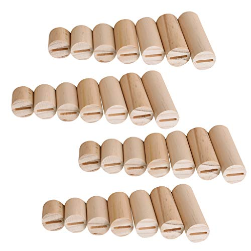 Baoblaze 28 Stück Natürlicher Unlackierter Zylinder-Holzring-Schmuckständer