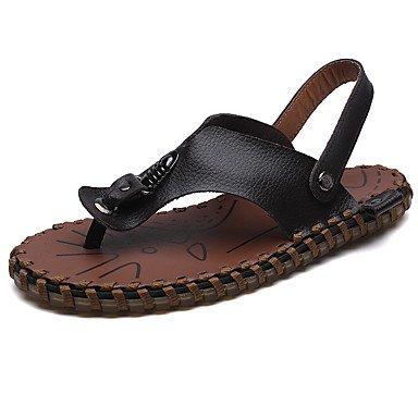 Confort d'été, sandales pour hommes occasionnels de PU talon plat Noir Brun blanc Brown