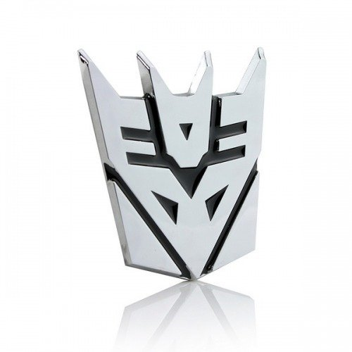SKS Distribution® Transformers Decepticon 3D-Chrom-Auto-Emblem-Abzeichen-Aufkleber Aufkleber mittlerer Größe (Schwarzer Transformers-emblem)