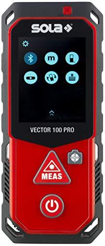 SOLA Vector 100 Pro Laser Entfernungsmesser I Entfernungsmesser 100m mit Bluetooth und Kamera I perfekt für Indirekte Messungen I Laser Messgerät mit Neigungssensoren und Touch-Screen