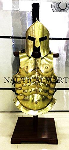 römischen Muscle Armour mit 300 Spartan Helm mit Schwarz Plume – Messing Plattenpanzer