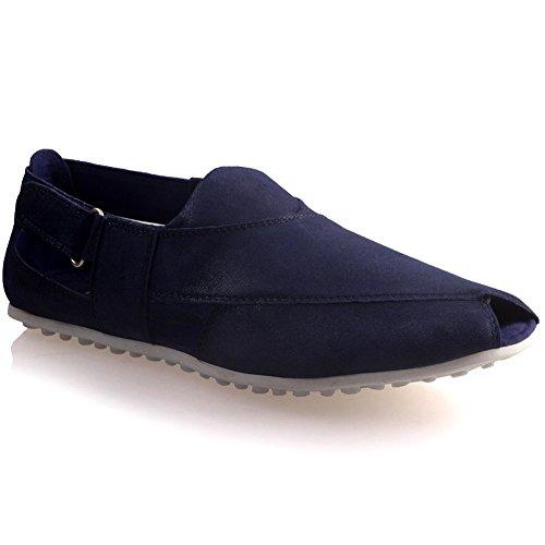 Unze Herren-Leder ' Cowen ' Stilvolle Sommer Sandalen - G00696 Blau