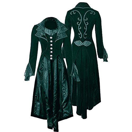 Cinnamou_mujer Steampunk Gothic Chaqueta Blusa de Largo Elegante Velvet Abrigos Medieval Vestidos Abrigo en Cuello de Solapa Retro Vintage Tops