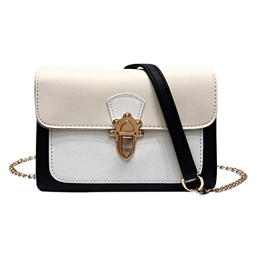 Vodool Elegant Women Patchwork Shoulder Bags PU Messneger Chain Handbags(White)