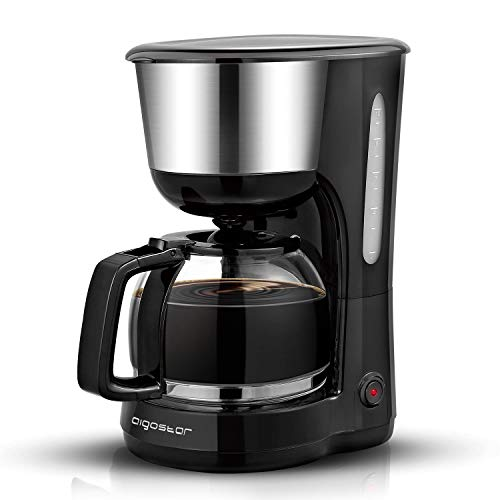 41kfWBFBRFL. SS500  - Aigostar Chocolate 30KYJ - Filter Coffee Machine, 1000W, Anti-Drip Design, Detachable Filter and Hot Plate, Keep Warm for 40 Mins, 1.25L for 10 Cups, FBA Free, Black.