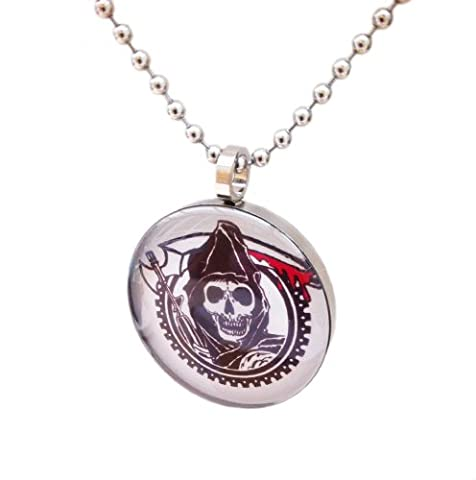 SONS TV Inspired 'The Grim Reeper' Biker Glass Cabochon Pendant Necklace