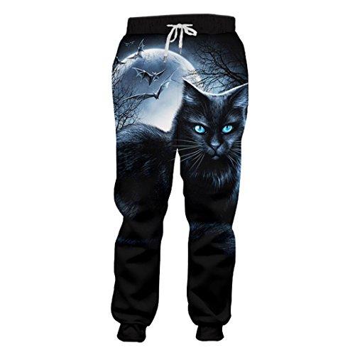 Bud SAQIU Tier Sweatpants Männer Lustige Print Cat Mole 3D Sweat Pants Mann Volle Länge Kordelzug Harem Joggers Hosen Cat Mole L