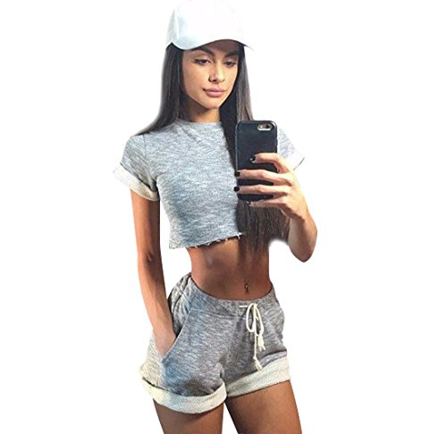 Crop Top + Kurze Hose 2 Stücke Damen Sommer Bauchfreie Kurze Tops Cami Tank Top Frauen Oberteile Rundhals T Shirt Kurzes T Shirts Kurzarm Sport Schöne Top Damentops Oberteil Grau S (Hose 2 Stück Spring)
