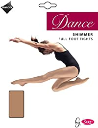 Ladies Silky Dance Shimmer Tights Full Foot or Stirrup Foot in Toast or Light Toast