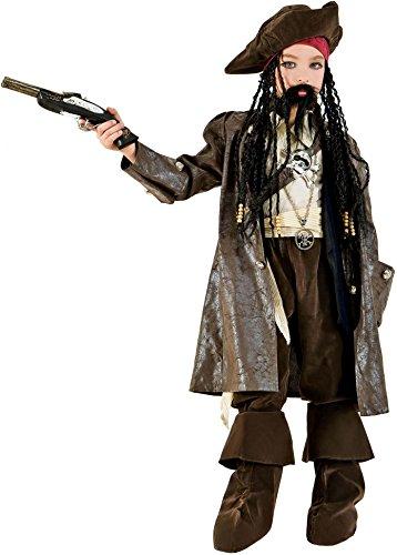 Costume di carnevale da capitan jack vestito per ragazzo bambino 7-10 anni travestimento veneziano halloween cosplay festa party 3601 taglia 8/m
