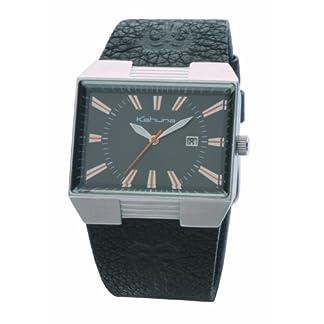 Kahuna KUS-0023G – Reloj analógico de Caballero con Correa de Piel Negra – Sumergible a 30 Metros