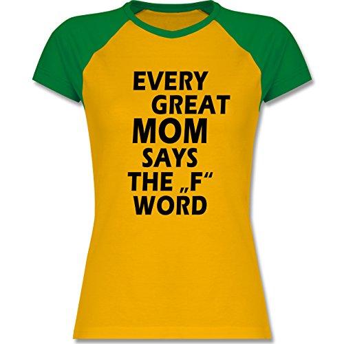 Statement Shirts - Fuck Word - zweifarbiges Baseballshirt / Raglan T-Shirt für Damen Gelb/Grün