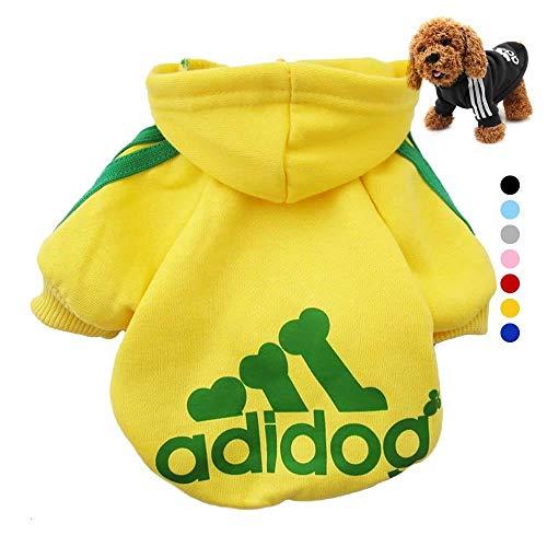 Ideapark Adidog HundeKleidung Warme Hoodies Mantel T-Shirt Kleidung Pullover Haustier Welpen Sportliches Design Kapuzenmantel-Mantel-Kleidung für großen Hund (XL, Gelb)