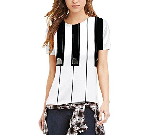 Adelina t shirt donna san valentino divertenti piano stampato eleganti estive manica corta rotondo collo slim fit t-shirt per uomo donne unisex coppia moda giovane casual magliette