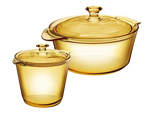 Visions Pyroceram Glass Flair 4Pc Casserole and Cookpot Pot Set, Brown