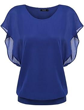 ZEARO Femenio Verano Elegante de Gasa O Cuello Camiseta Blusas Tops Shirts de Manga Corta