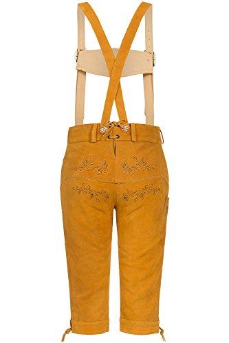 Blickfangende Damen Trachten Lederhose orig. von Bohmberg Goldgelb Kniebund Traditionell aus feinem Rindsvelour Leder mit Hosenträger 2016er Kollektion!!! Goldgelb