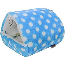 Yililay Hamster Jerarquía Linda Pequeños Animales acogedora Cama para Dormir de algodón Mascota Caliente Housefor Invierno (Azul) 1 Cantidad, Suministros para Mascotas Accesorios