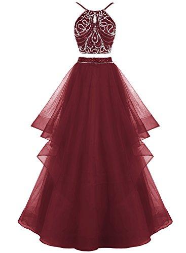Bbonlinedress Robe de cérémonie Robe de bal asymétrique deux pièces longueur ras du sol Bordeaux