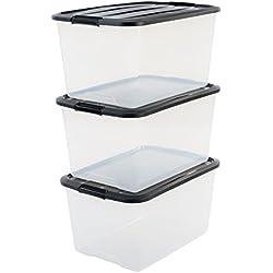 Iris 101885 Aufbewahrungsbox, Ordnungssystem, Stapelbar, 45 L, Kunststoffbox mit Deckel, transparent schwarz, 3-er Set