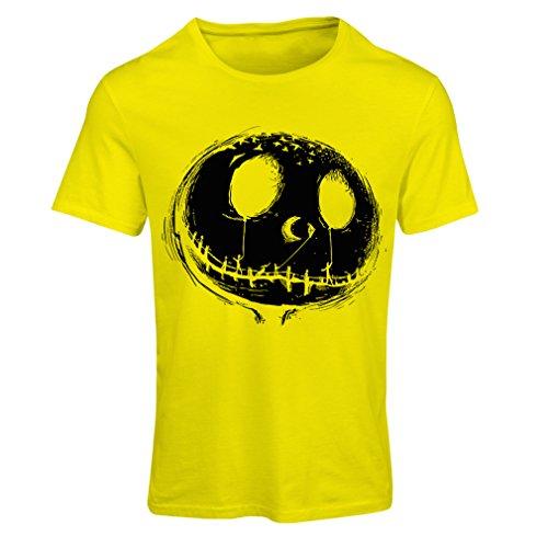 Frauen T-Shirt beängstigend Schädel Gesicht - Alptraum - Halloween-Party-Kleidung (Medium Gelb Mehrfarben)