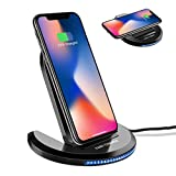 Fast Wireless Charger, ELEGIANT Qi Schnellladegerät Drahtloses Induktive Schnellladestation Faltbare Ladestation für Samsung Galaxy S9/S9+ / Note 8 / S8/ S8 plus/ S7 / S7 Edge/ S6 Edge Plus / Note 5, iPhone 8 / iPhone 8 Plus / iPhone X, und alle Qi Fähige Geräte