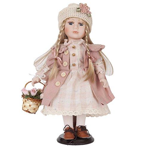 Clayre y fed 6PP0015 decorativa muñeca con cesta y rosa aprox 33 cm